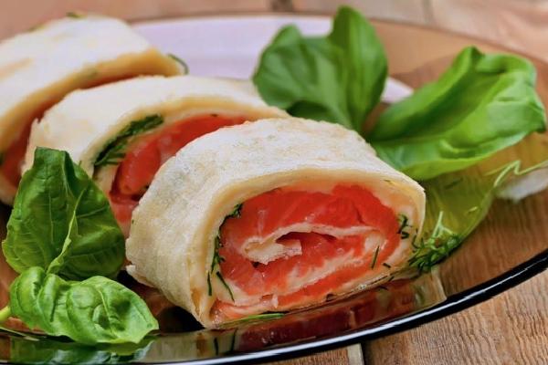 Rollitos de salmón sin gluten